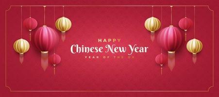 chinesisches Neujahrsgrußbanner mit roten und goldenen Laternen auf rotem Hintergrund