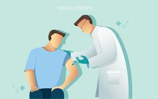Arzt, der Patientenimpfstoff, Medizingesundheitskonzept, Vektorillustration gibt vektor