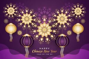 kinesiskt hälsningsbanderoll eller affisch med lyktor och gyllene mandala. nyår 2021 vektor