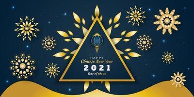 gott kinesiskt nyår 2021 banner med gyllene blommor utspridda på blå bakgrund vektor