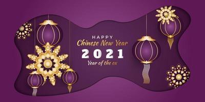 gott kinesiskt nyår 2021 banner med guld mandala och lykta på lila bakgrund i pappersskuren stil vektor