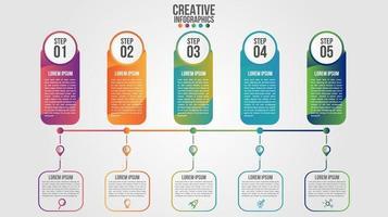 Infografik moderne Zeitachse Design Vektor Vorlage für Unternehmen mit 5 Schritten