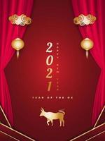 gott kinesiskt nyår 2021 år av oxen. kinesiskt gratulationskort dekorerat med gyllene oxar, lyktor och röda gardiner på röd bakgrund vektor
