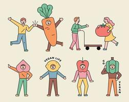 människor karaktärer bär fruktmasker. vektor