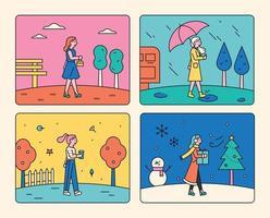 vier Jahreszeiten Wetter. vektor