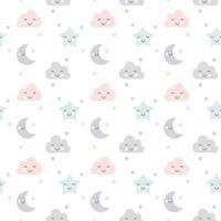niedliche Vektorwolken, Mond und Sterne nahtloses Muster schlafen im skandinavischen Stil lokalisiert auf weißem Hintergrund für Kinder. Hand gezeichnete Karikaturillustration für nordisches Plakat, Karte, Stoff, Kinderbuch. vektor
