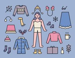 Winterschrank für Mädchen. vektor
