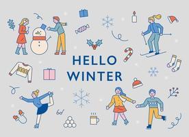 Menschen und Ikonen, die den Winter genießen. vektor
