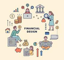 Finanzikonensatz. vektor