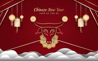 kinesiskt nyår 2021 år av oxen. lyckligt nyårsbanner med gyllene oxe, moln och lykta på röd bakgrund vektor