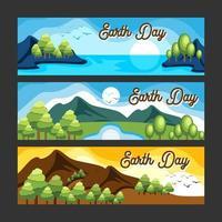 platt färg för glad jorddag banneruppsättning vektor
