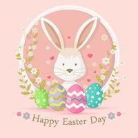 Fröhliches Ostern mit einem niedlichen Kaninchen vektor