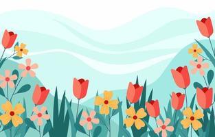 schöne Blumen mit blauem Hintergrund vektor