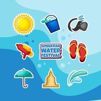 Happy Songkran Water Festival Aufkleber Set vektor