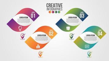 Infografik moderne Zeitachse Design Vektor Vorlage für Unternehmen mit 4 Schritten oder Optionen