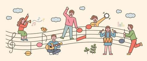 Menschen sitzen auf Noten und singen und spielen Musikinstrumente. flache Designart minimale Vektorillustration. vektor
