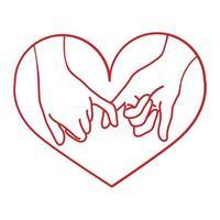 Hand gezeichnete Kontur Pinky Versprechen mit Herz