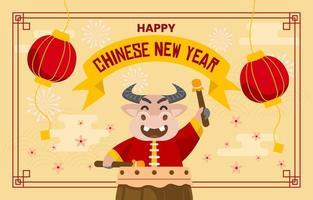 chinesisches Neujahr das Jahr des Ochsen vektor
