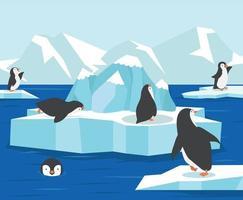 Nordpolen Antarktis med pingviner familjebakgrund vektor