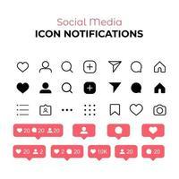 Benachrichtigung über Social Media-Symbole vektor