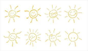 Sonnensymbol. Hand gezeichnete Sonnenikone. vektor