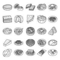 berühmte Lebensmittel setzen Ikonenvektor. Gekritzel Hand gezeichnet oder Umriss Symbol Stil vektor