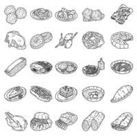 American Food Set Icon Vektor. Gekritzel Hand gezeichnet oder Umriss Symbol Stil vektor