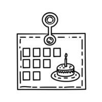 kalenderikonen. doddle handritad eller svart kontur ikon stil vektor