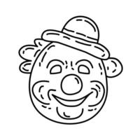 clown ikon. doddle handritad eller svart kontur ikon stil vektor