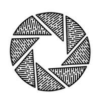 Blenden-Symbol. Gekritzel Hand gezeichnet oder schwarzer Umriss Symbol Stil vektor