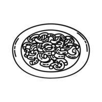 makaroner pasta ikon. doodle handritad eller dispositionsikon stil vektor