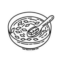 miso soppa ikon. doodle handritad eller dispositionsikon stil vektor