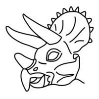 triceratops-ikonen. doodle handritad eller svart kontur ikon stil vektor