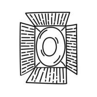 Lampensymbol. Gekritzel Hand gezeichnet oder schwarzer Umriss Symbol Stil vektor