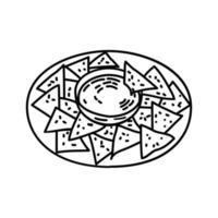 Nachos-Symbol. Gekritzel Hand gezeichnet oder Umriss Symbol Stil