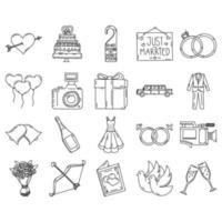 bröllop ikonuppsättning. doddle handritad eller svart kontur ikon stil. vektor ikon