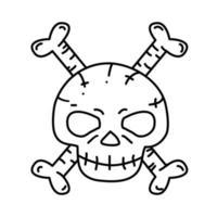 Skelettsymbol. Gekritzel Hand gezeichnet oder schwarzer Umriss Symbol Stil