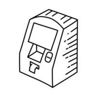 atm-ikon. doodle handritad eller dispositionsikon stil vektor