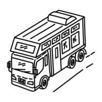 tropische Ikone des Wohnmobils. Gekritzel Hand gezeichnet oder Umriss Symbol Stil vektor