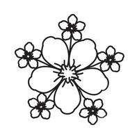 tropische Ikone der Blüte. Gekritzel Hand gezeichnet oder Umriss Symbol Stil