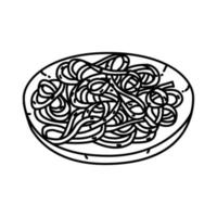 Fettuccine Alfredo Ikone. Gekritzel Hand gezeichnet oder Umriss Symbol Stil vektor