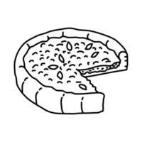 djup skål pizza ikon. doodle handritad eller dispositionsikon stil vektor