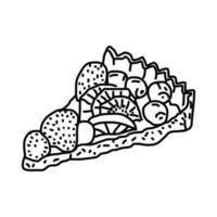fransk frukt tårta ikon. doodle handritad eller dispositionsikon stil vektor