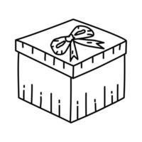 Geschenkikone. Gekritzel Hand gezeichnet oder Umriss Symbol Stil
