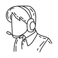 ikon för callcenter. doodle handritad eller dispositionsikon stil