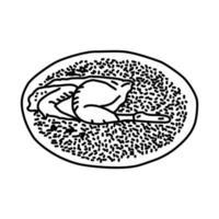 mandi-ikonen. doodle handritad eller dispositionsikon stil vektor