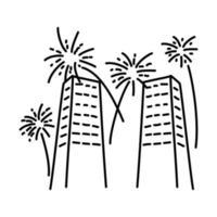 fyrverkerier hög ikon. doodle handritad eller dispositionsikon stil vektor