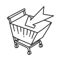 e-handelsikon. doodle handritad eller dispositionsikon stil vektor