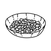 natto-ikonen. doodle handritad eller dispositionsikon stil vektor