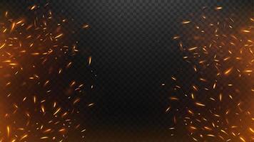 eld flyger gnistor med en mörk bakgrund vektor